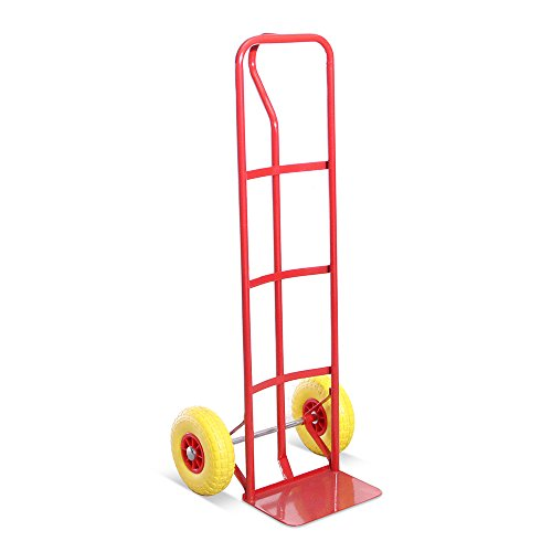 High Back P-Handle Industrial Steel Sack Truck - with Anti Puncture Tyres and 325kg Load Capacity (Red)- 5 Year Warranty