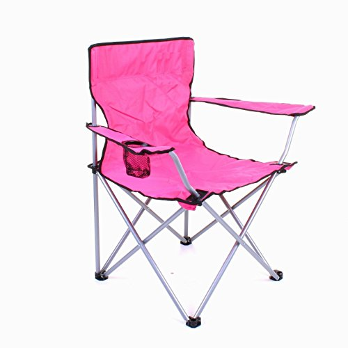 HOME HUT FOLDING CAMPING CHAIR HIKING GARDEN INDOOR OUTDOOR FISHING SEAT GARDEN FESTIVAL (Pink)